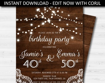 Joint birthday party etsy rustic adult joint birthday party invitation rustic wood birthday invite printable birthday invitation editable invite instant download filmwisefo