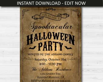 Rustic Halloween Party Invitation Template Vintage Invite Editable Instant Download