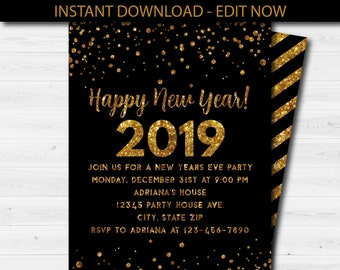 happy new year party invitation new years eve party invite new years eve party invitation template digital party inviteinstant download