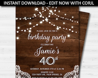 Adult Birthday Party Invitation Elegant Rustic Wood Invite Printable Editable Instant Download