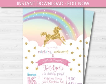 Unicorn Birthday Party Invitation Template Editable Instant Download