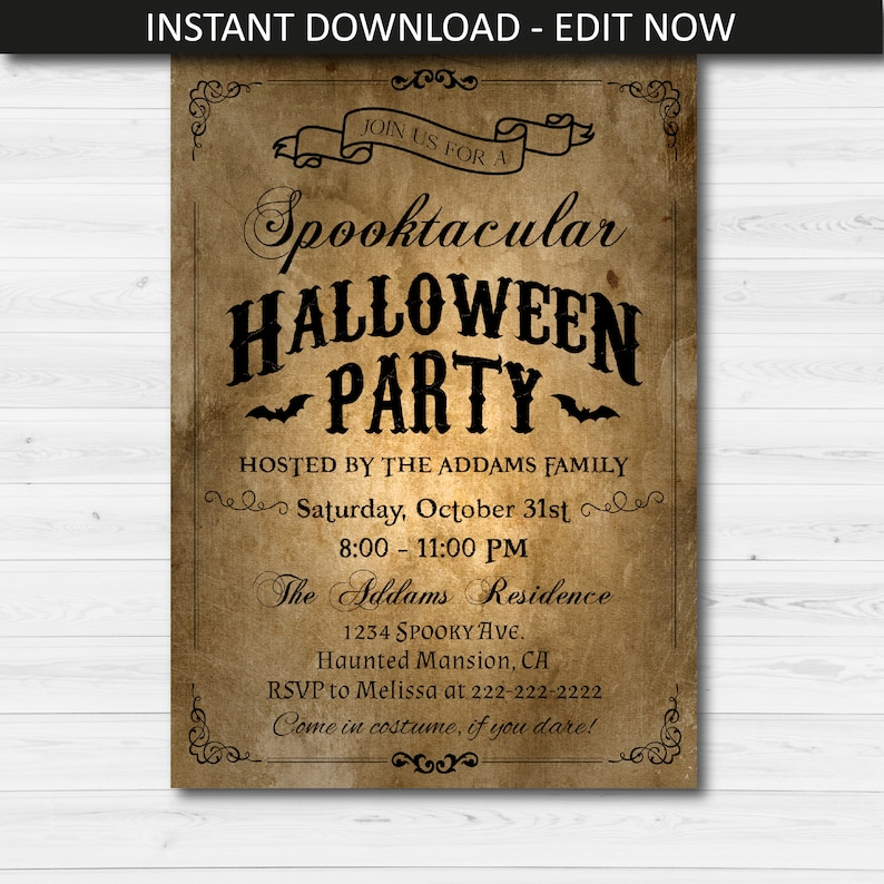 Rustic Halloween Party Invitation
