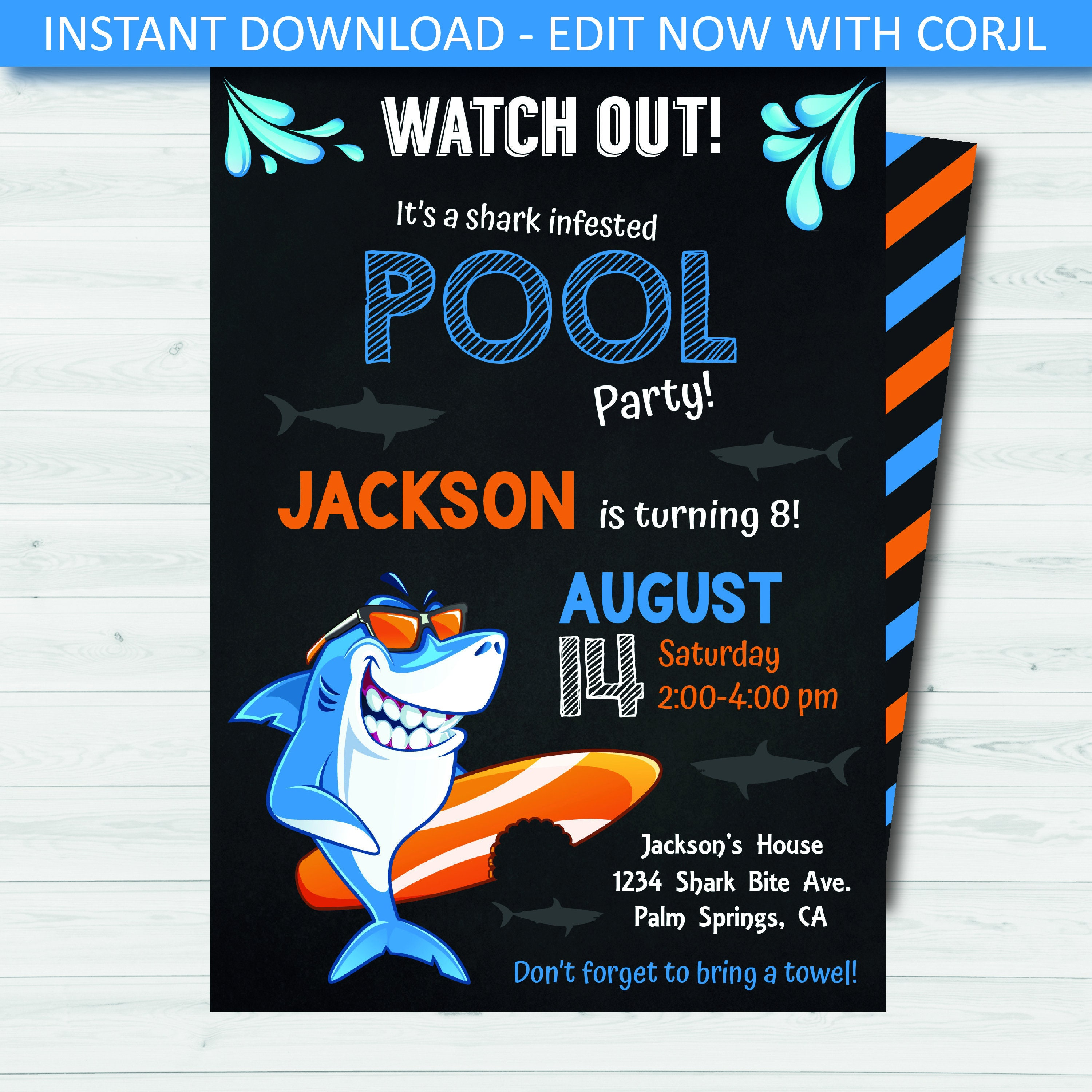 Shark Pool Party Invitation Template Digital Boys Instant Download