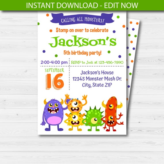 Cute Monster Invitation Mash Template Birthday Party Invite Editable Instant Download