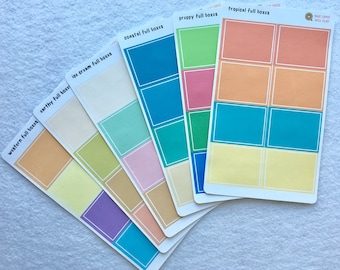 Full BoxBlank  Sticker - planner basics - choose from 6 different color ways