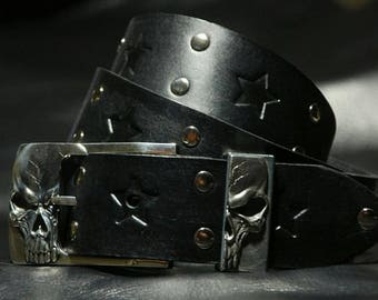 Cool Leather Punk Rock Belt Skull Bronze Buckle
