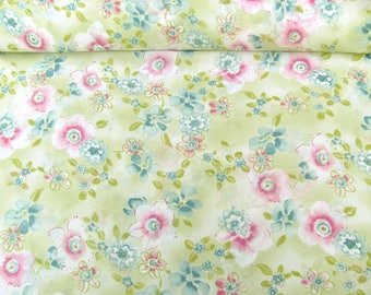 Georgette 801102 in pastel green with floral print