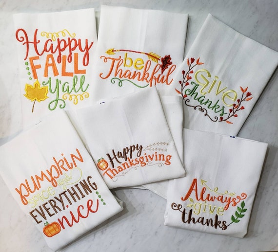 Embroidered Fall Kitchen Towels Thanksgiving Sayings Towel Etsy