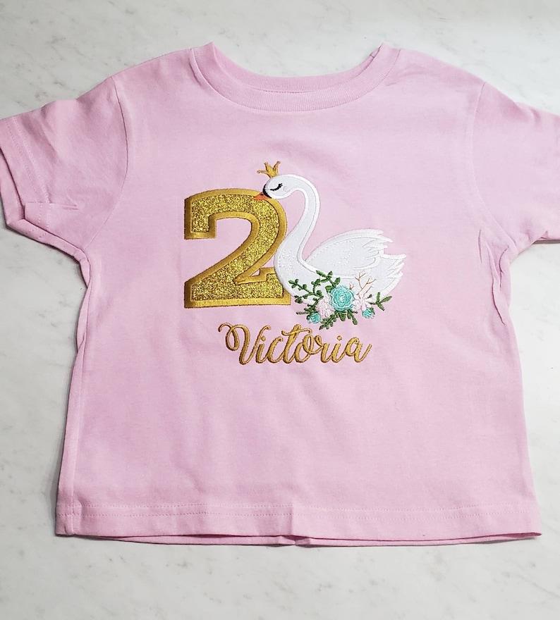 Swan birthday shirtprincess birthday party teeswan partypink and glitter gold1st birthday outfitgirl birthday shirtbaby bodysuit