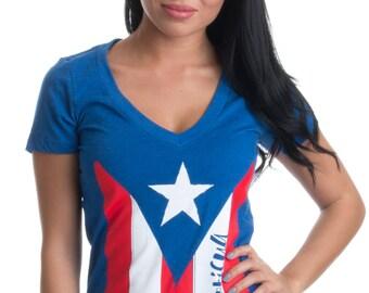 36bfdad725 BORICUA | Cute PR Puerto Rican Pride, Nuyorican Flag Ladies' Rico V-neck T- shirt