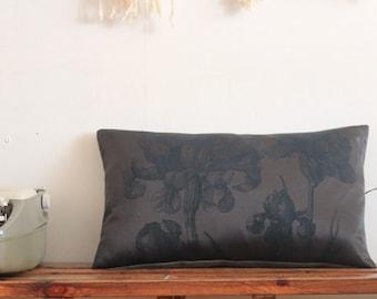 Lutescens blue iris flower screen printed Cushion cover