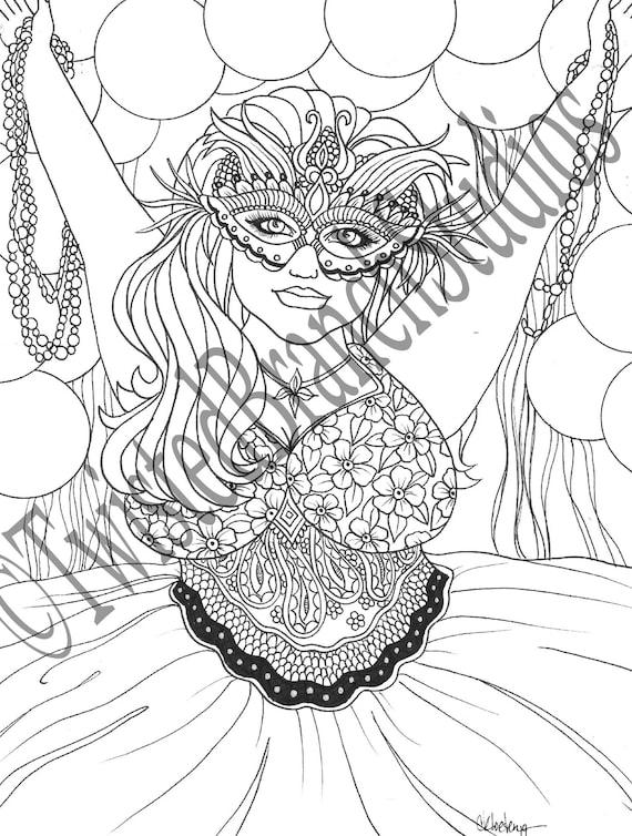 Pdf Adult Coloring Book Printable Sheet Instant Download Art Curvy Beauty Mardi Gras