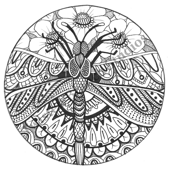Dragonfly -Coloring Books, Coloring Pages, Adult Coloring Books, Adult  Coloring Pages, Instant Download, Printable Coloring Sheet