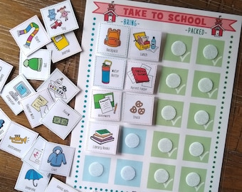 Take To School Checklist & 24 Cards, School Packing Checklist For Kids, Bring To School Packing List, Remember Bring To School Packing List