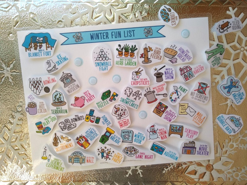 Winter Fun List & 42 Activity Cards image 0