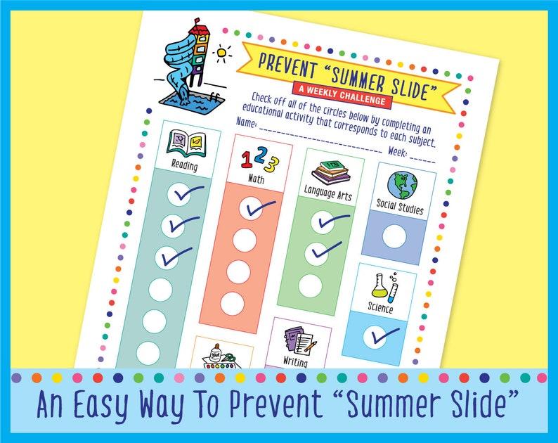 Prevent Summer Slide Weekly Challenge Checklist image 0