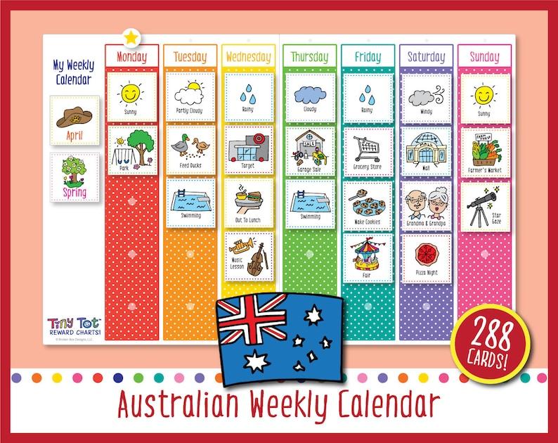Printable Australian Weekly Visual Calendar Includes 288 image 0