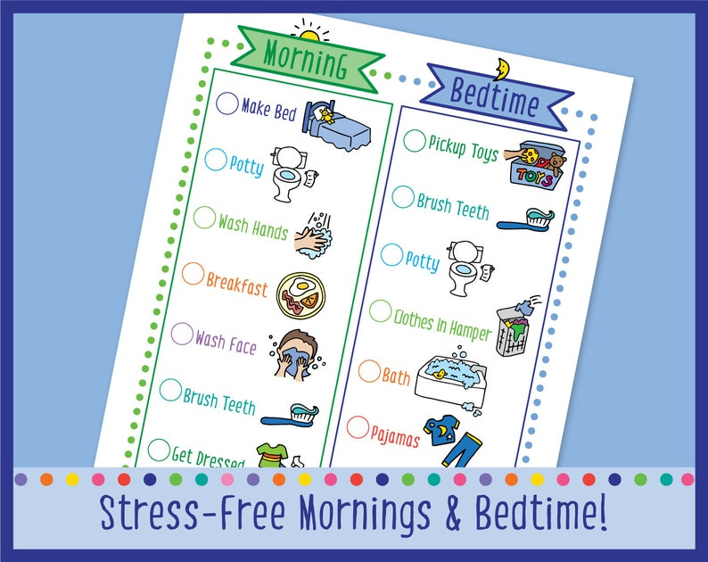 Printable Morning & Bedtime Visual Routine Chart for boys image 0