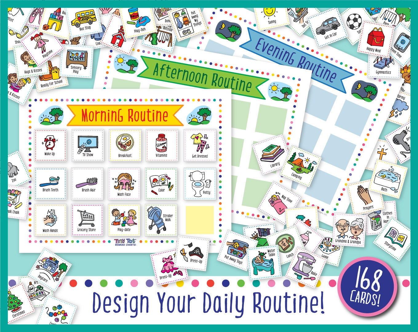 graphic regarding Printable Visual Schedule titled Printable Day-to-day Visible Routine (168 Plan and Video game Playing cards), Features Charts