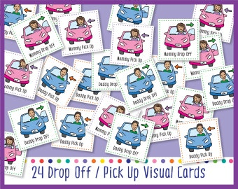 Drop Off/Pick Up (Printable Visual Cards For Weekly Calendar)