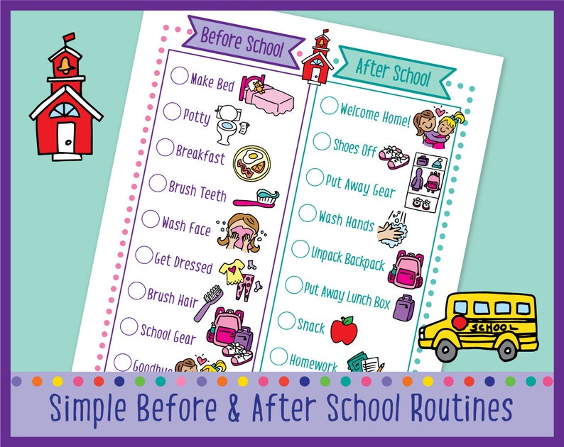 Printable Before & After School Visual Routine Chart for image 0