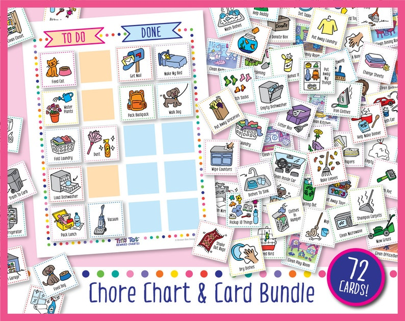 Printable Chore Chart & 72 Cards image 0