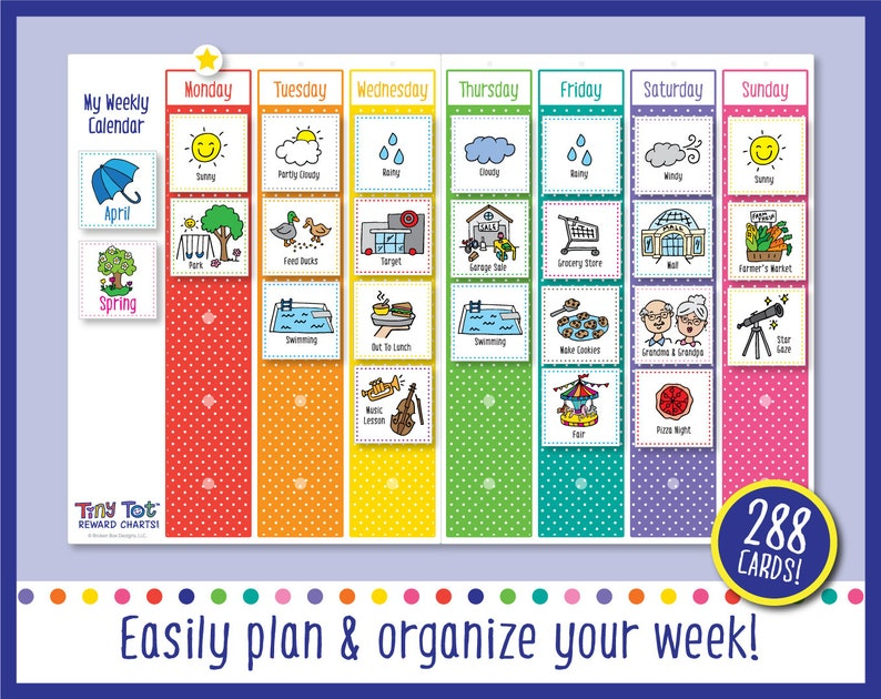 Printable Weekly Visual Calendar Includes 288 Cards image 0