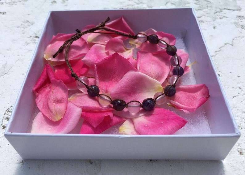 Rose Quartz /& Amethyst Square Knot Bracelet
