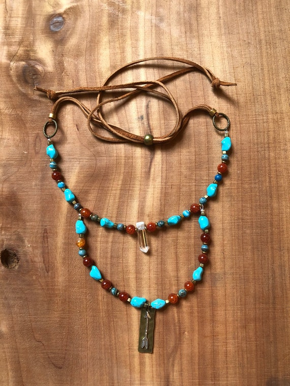 Double Layer Necklace • Beaded • Clear Quartz Point • Carnelian • Turquoise Howlite • Blue Agate • Arrow • Leather