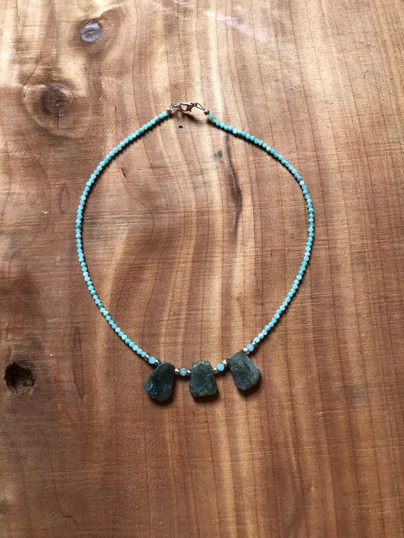 Labradorite & Amazonite • Beaded Necklace • Crystal • Bohemian • Hippie • Genuine