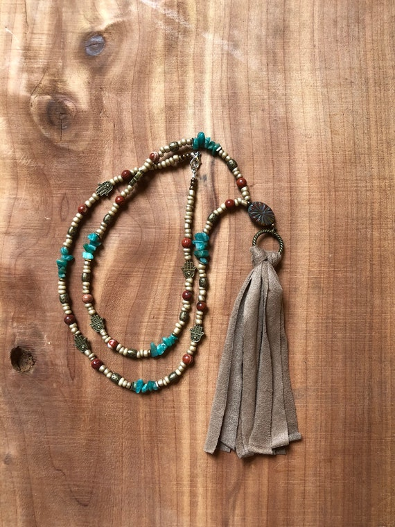 Hand of Fatima • Hamsa • Beaded Necklace • Tassel