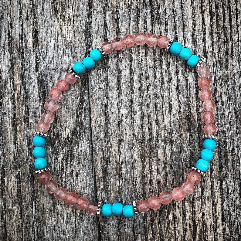Summer Vibes \u2022 Stacker Bracelet Set \u2022 Cherry Quartz \u2022 Howlite \u2022 Crystals