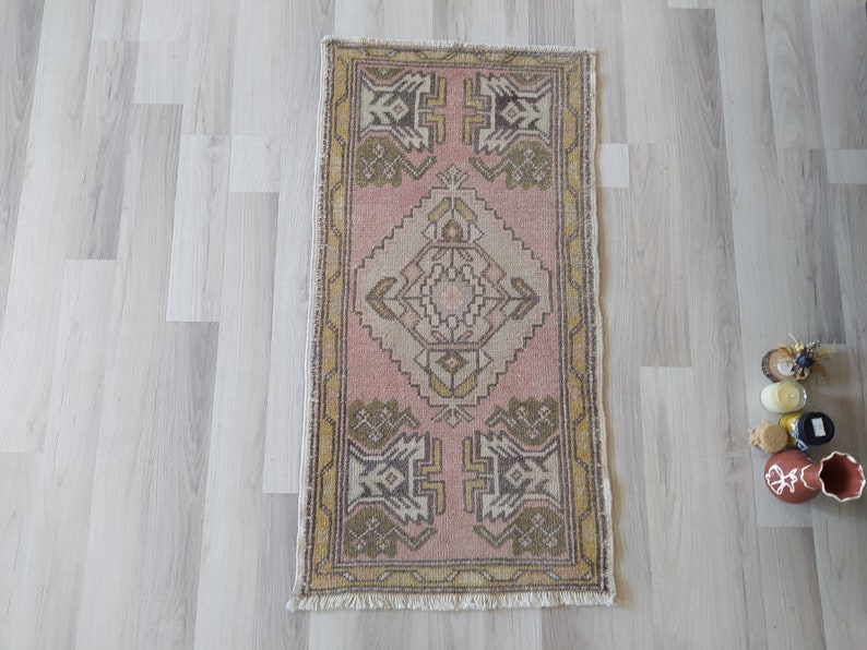 mini oushak rug 2x3 Indoor door mat rug muted color in front of kitchen sink,vanity bath mat,bedside,vintage tuk\u0131sh rug mini rug