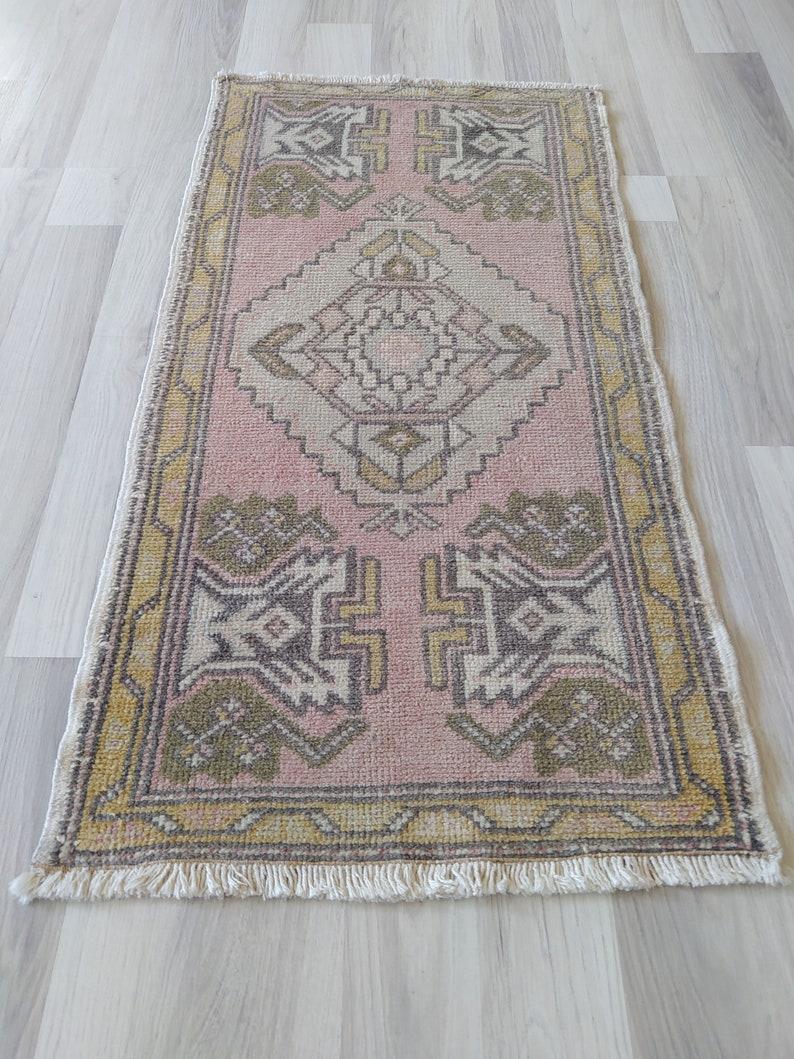 mini oushak rug in front of kitchen sink,vanity 2x3 Indoor door mat rug bath mat,bedside,vintage tuk\u0131sh rug mini rug multi muted color,