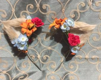 Small Tan Cat Ear Floral Headband