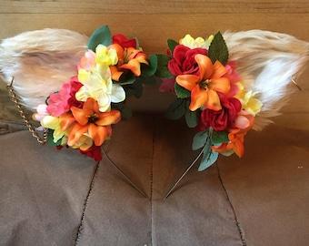 Furry Cat Ear Flower Crown Headband