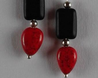 Red Magnesite and Black Czech Glass Bead Earrings for Pierced Ears