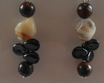 Agate and Red Jasper Drop Earrings for pierced ears.