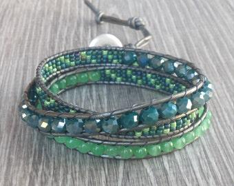 Silver Green Blue Aqua Leather Beaded Wrap Bracelet