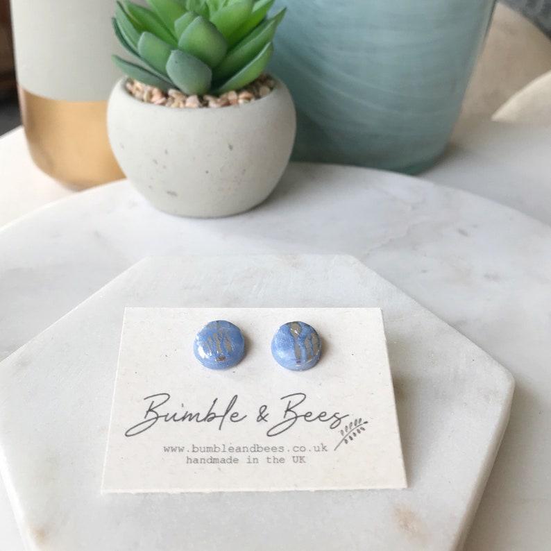 handmade earrings   hypoallergenic earrings Blue and silver round earrings small stud earrings