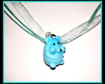 Glass Guinea Pig Pendant Necklace