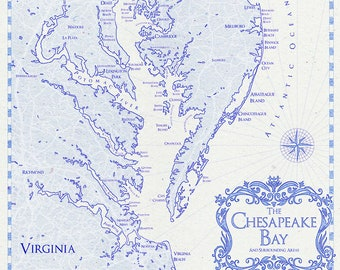 Chesapeake bay map | Etsy