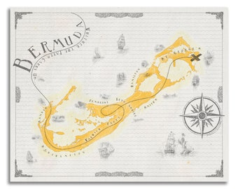 Bermuda map   Etsy