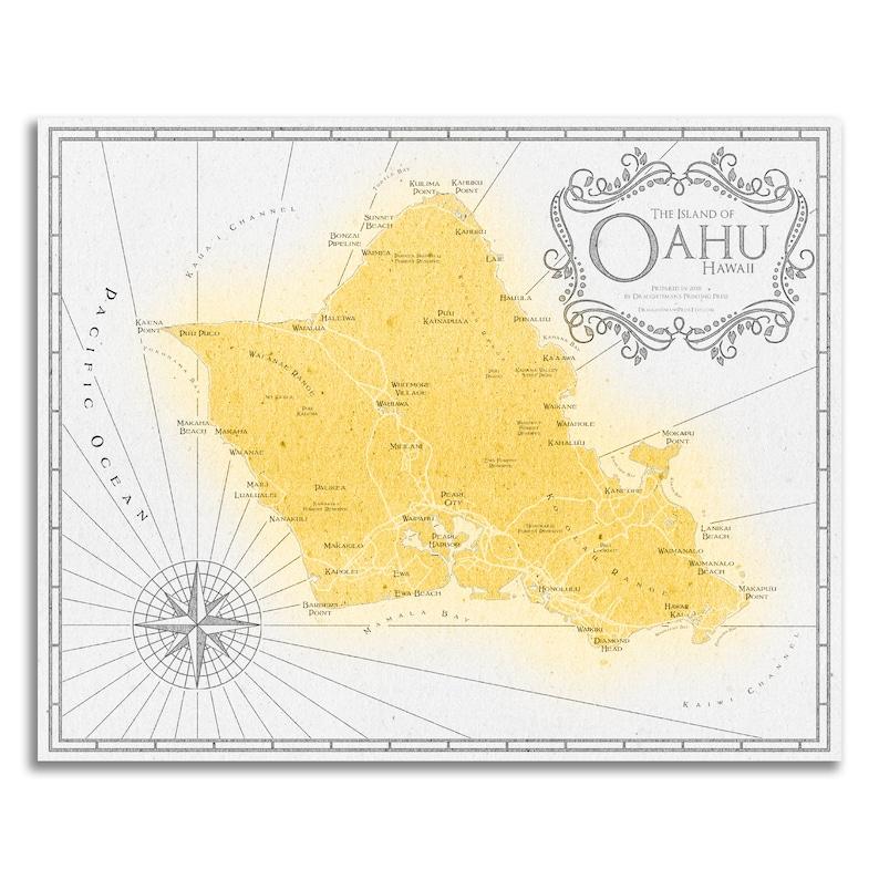 image regarding Printable Map of Oahu identify Oahu Print - Oahu Map - Oahu Decor - Oahu Artwork - Hawaii Artwork - Oahu Poster - Oahu Basic Style and design Map - Push Decor - Oahu Wall Artwork - Artwork Print
