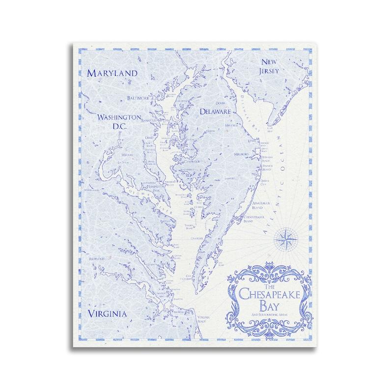 Chesapeake Bay Map Chesapeake Bay Art Chesapeake Bay Print | Etsy on