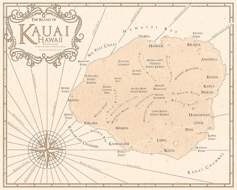 image regarding Printable Map of Kauai known as Kauai Map - Kauai Print - Kauai Artwork - Kauai Poster - Kauai Basic Design and style Map - Wall Artwork - Kauai Decor - Hawaii Artwork Print - Traditional Print