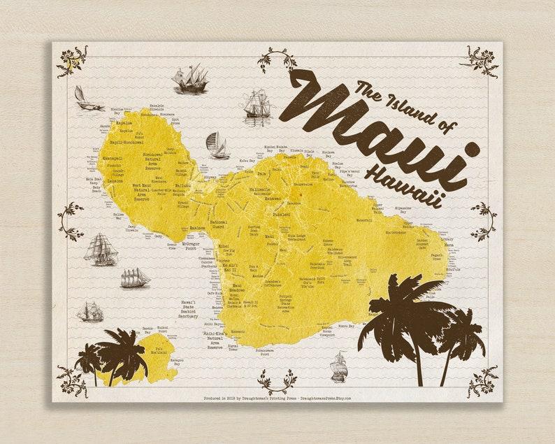 Modern Maui Map in Retro Style  Maui Hawaii Decor  Maui image 0