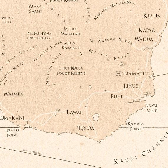 photo relating to Printable Map of Kauai called Kauai Map - Kauai Print - Kauai Artwork - Kauai Poster - Kauai Classic Structure Map - Wall Artwork - Kauai Decor - Hawaii Artwork Print - Typical Print