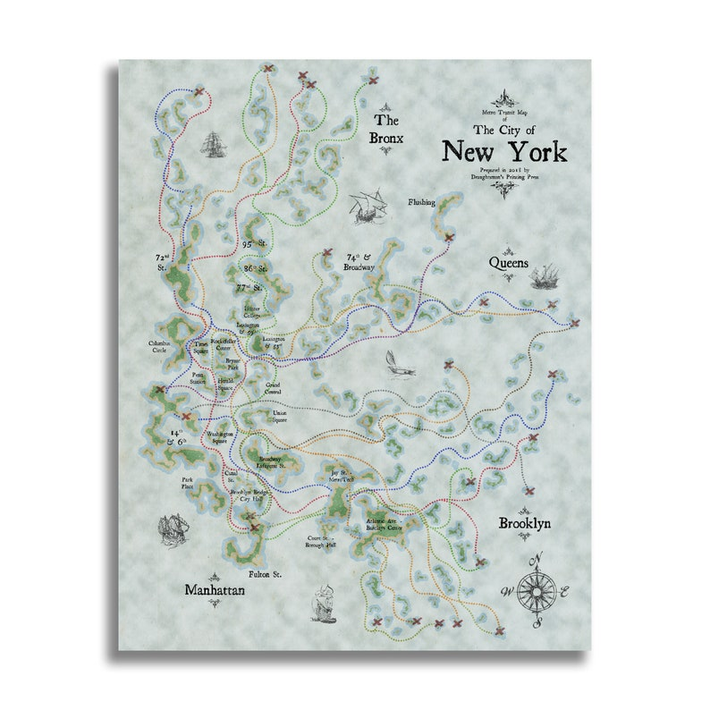 Custom Art Nyc Subway Map.New York City Subway Map Nautical Style Subway Map Vintage Style Print Nyc Art Subway Print Subway Poster Wall Art