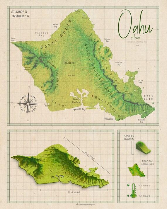 graphic regarding Printable Map of Oahu referred to as Classic Structure Oahu Map - Oahu Artwork - Oahu Print - Hawaii Map - Honolulu Print - Oahu Map - Retro Map - Generate Wall Artwork - Hawaii Wall Artwork